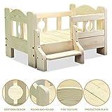 OLDWANG Hundebett Holz Hundehütte Haustier-Bett-Hölzerner Bett-Rahmen Entfernbare Saubere Bettrahmen,ungiftigwooden