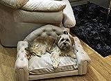 Jaukumo Vizija Steve - Hundesofa Chesterfield hundebett Couch, Katze, Farbe Sand, Größe 76 x 49 cm, Handmade (S (76 x 49 cm), Sand)