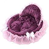 LA VIE Schönes Prinzessin Hundebett Hundekissen Weiches und Gemütlich Plüsch Bequemer Haustierschlafplatz mit Kissen Decke Matten für Hunde Katzen Welpen Kleine und Mittlere Rassen Lila S