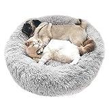 Cozywind rundes Haustierbett für mittelgroßen Hund und EIN Paar Katzen Hellgraun Warmes Kissen oder deluxes Bett mit Weichen Plüsche in Doughnut-Form (70CM, Hellgrau)