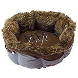 Happy House Chic Loft Tweed/Leder-Korb, rund, klein